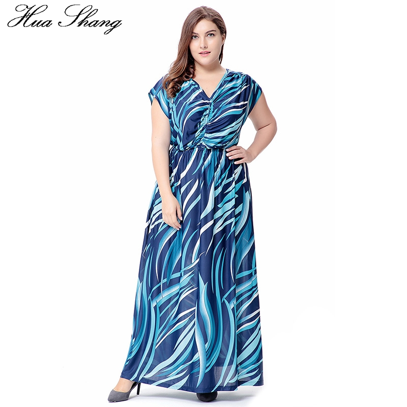Hua Shang Women Summer V Neck Short Sleeve Casual Beach Dress Blue Striped Print Vintage Long Bohemian Dress Plus Size Vestidos