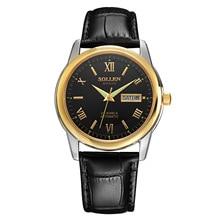 SOLLEN marca AAA Suizo Jaragar relojes mecánicos con fecha Fotosensibles zafiros relogio masculino para los hombres