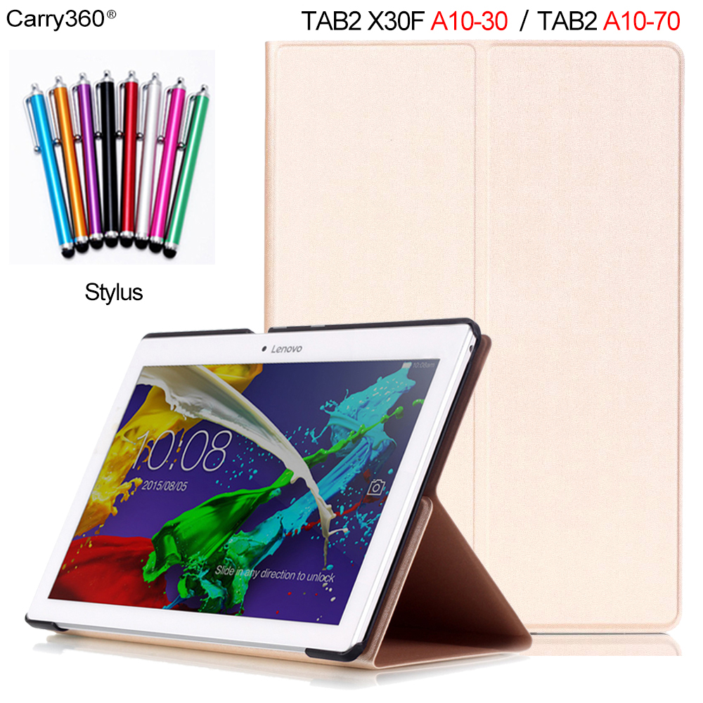 Carry360 Gold PU Leather Case for Lenovo Tab 2 A10-70 A10-70F A10-70L Tab2 A10-30 X30F 10.1 inch Tablet PC Cover Sleep Wake up for lenovo tab2 a10 70f smart flip leather case cover for lenovo tab 2 a10 70 a10 70f a10 70l tablet 10 1 with screen protector