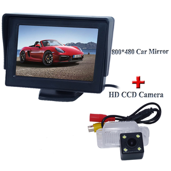 Adapt for FORD-Focus Hatchback/ Mondeo Fiesta car rear view camera with 4 led 170 angle lens +800*480 car monitor 4.3""