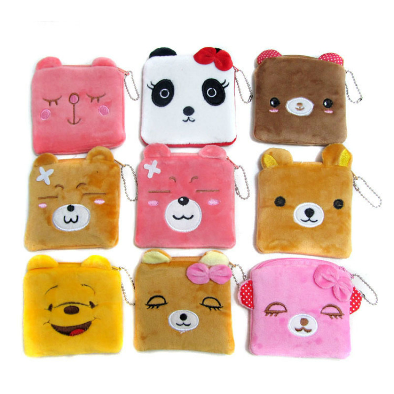 Quartet purse boutiques selling low-priced South Korea cartoon pink panda bears animal lady small wallet key case japan south korea cartoon owl mini wallet coin case card holder dollar price bag quartet small purse gift wholesale