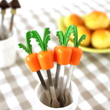 Radish style Colorful silicone handle with lovely fruit fork set free shipping