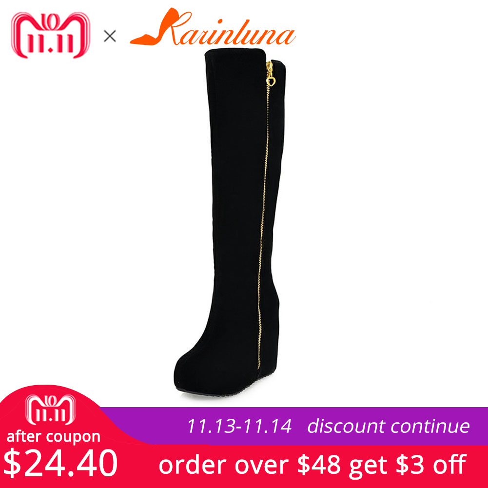 KARINLUNA New Wedges High Heels Zip Solid Round Toe Platform Shoes For Women Casual Winter Knee-High Boots Big Size 32-43 enmayda knee high boots for women high heels round toe size 34 40 motorcycle boots platform shoes zippers solid black shoes