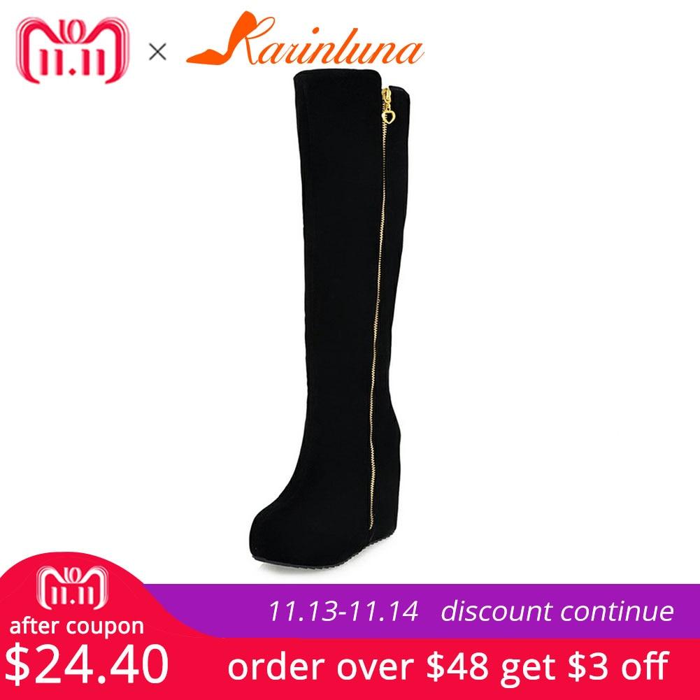 KARINLUNA New Wedges High Heels Zip Solid Round Toe Platform Shoes For Women Casual Winter Knee-High Boots Big Size 32-43 стоимость