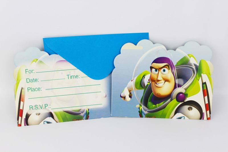 6 unids Envolver Forma Toy Story Tema Tarjeta de Invitación de la Fiesta de Los
