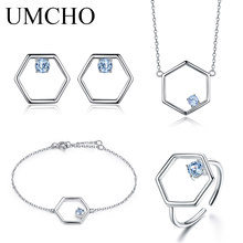 UMCHO Natural Blue Topaz Jewelry Set 925 Sterling Silver Necklace Ring Earrings Bracelet