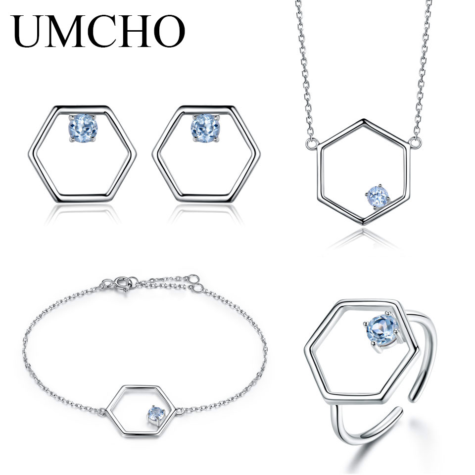 цена на UMCHO Natural Blue Topaz Jewelry Set925 Sterling Silver Necklace Ring Earrings Bracelet For Women Fine Jewelry