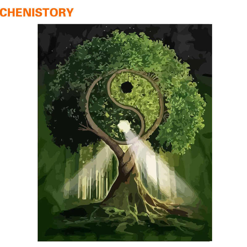CHENISTORY Frame Picture Gossip Tree DIY Painting By Number Landscape Coloring By Number Modern Wall Art Canvas Painting Artwork
