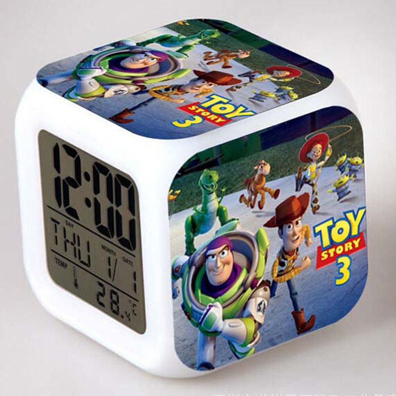 A Ton Of Rooms With Colorful Toys: Glowing LED Color Toy Story Alarm Clocks, Change Digital