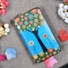 2016 Hot  Fashion Women Genuine Leather Flower Tree Freehand Painting Bag Wallet Card Money Holder Clutch Wallets Phone Pocket