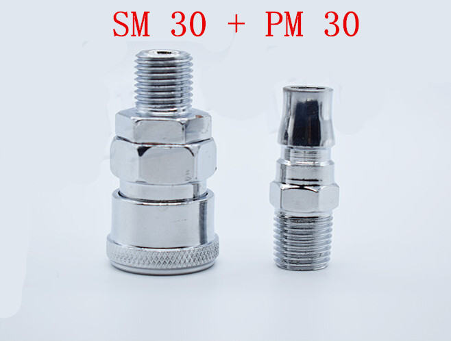 1set PM30+SM30 3/8PT Thread Straight 2 Way Pneumatic Air Hose Quick Connector Coupler brass 1 2 pt male to 3 8 pt female thread hex bushing pneumatic quick coupler