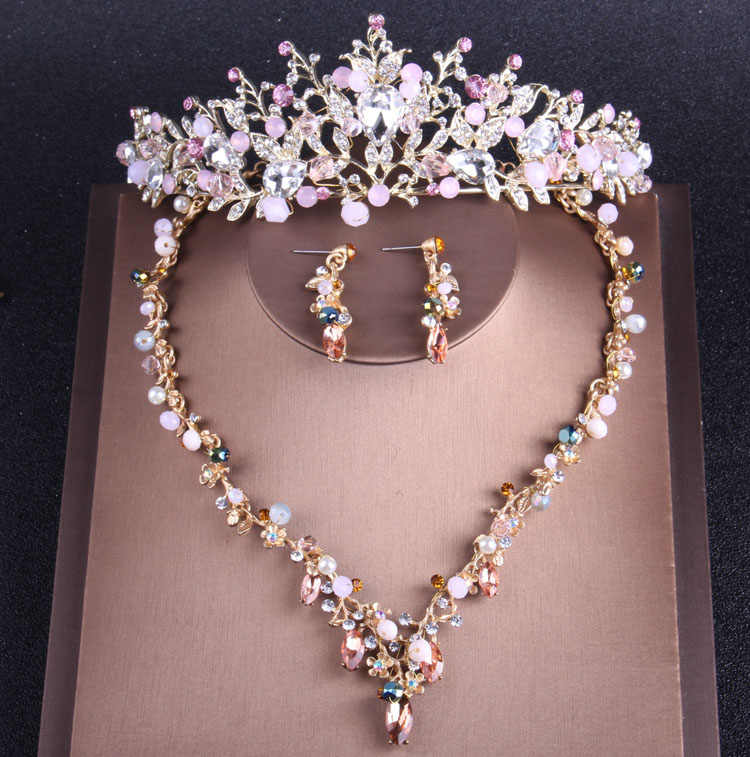 Baroque Gold Pink Crystal Tiara Crowns Necklace Earrings Set Simulated Pearl Bridal Jewelry Sets For Women Wedding Accessories