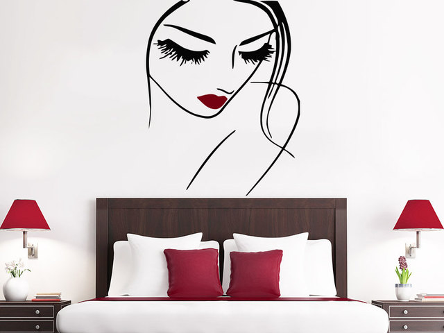 Exceptional Sexy Lady Face Make Up Wall Decals Beaty Salon Girl With Pretty Lips Wall  Stickers Home