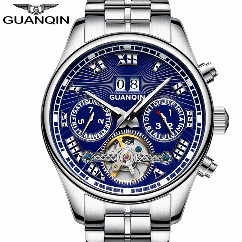 GUANQIN 2017 New  Famous Brand  Luxury Watch Men Business Tourbillon Mechanical Watches Luminous Waterproof Wristwatch