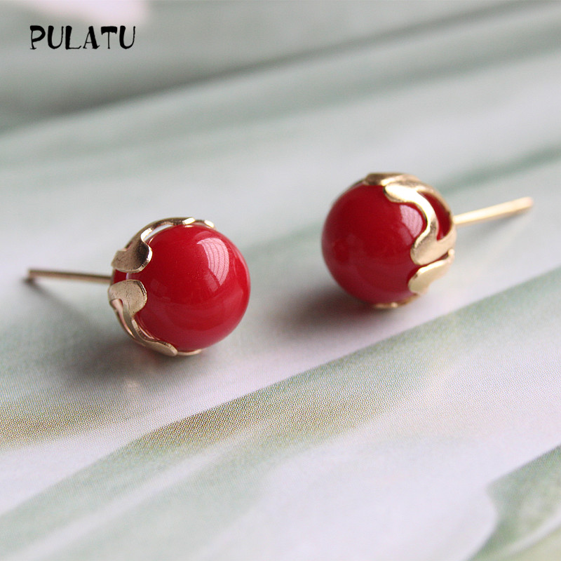 9 Color Fashion Pearl Earrings for Women Minimalist 8mm Bead Rose Gold color Alloy Small Stud