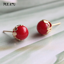 9 Color Fashion Pearl Earrings for Women Minimalist 8mm Bead Rose Gold color Alloy Small Stud Earrings Jewelry PULATU ZZ0302