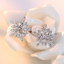 100% 925 sterling silver fashion shiny crystal ice flower la