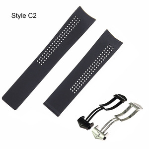 Image 5 - 20 22 24mm black silicone watch band for Heuer carrer a calibre 16 series sports waterproof strap bracelet wristband Accessories
