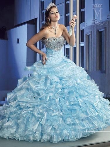 Ice Blue Quinceanera Dress Beaded Sequins Sweet 16 Dresses ...