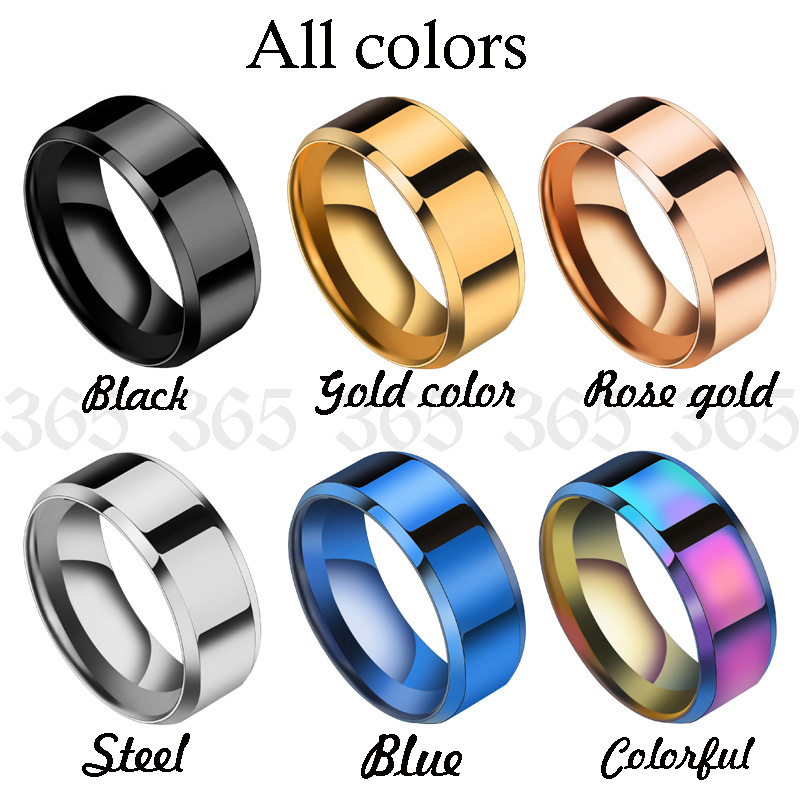 New Design 8mm Width Black Titanium Stainless Ring For Women Men High Quality Couple Ring Wedding Jewelry