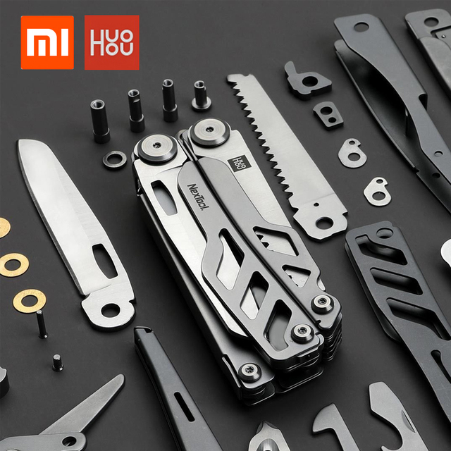 In stock xiaomi huohou multi-function pocket folding knifes pliers scissors stainless steel blade hunting camping survival tool