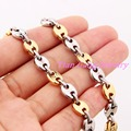 "7""-40"" Coffee Beans Link Chain for Men Necklace Bracelet Set  New Male Thick Long Stainless Steel Jewelry Gold Plated"