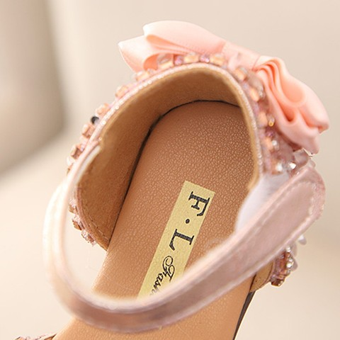 Sandals for Girls Summer Children Kids Baby Girls Bowknot Crystal Princess Sandals wedding shoes #TX4 Islamabad