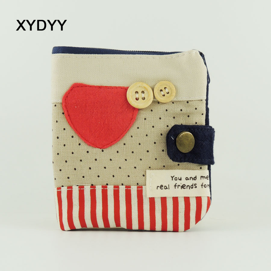 XYDYY Casual Peach-heart Prints Women Daily Wallets High Quality Cotton Coin Wallet Female Hasp Fashion Short Purse Card Holder casual weaving design card holder handbag hasp wallet for women