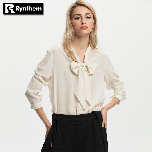 Rynthem Women Silk Long Sleeve Shirts Solid Bow Collar Elegant Ladies Fashion Casual Blouse Full Shirt Pockets Clothing Hot