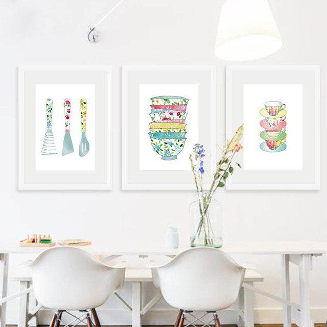 Erfrischende Aquarell Linie Zeichnung Nette Geschirr Cartoon Kaffeetasse  Werkzeug Moderne Leinwand Malerei Für Eingangsbereich Esszimmer