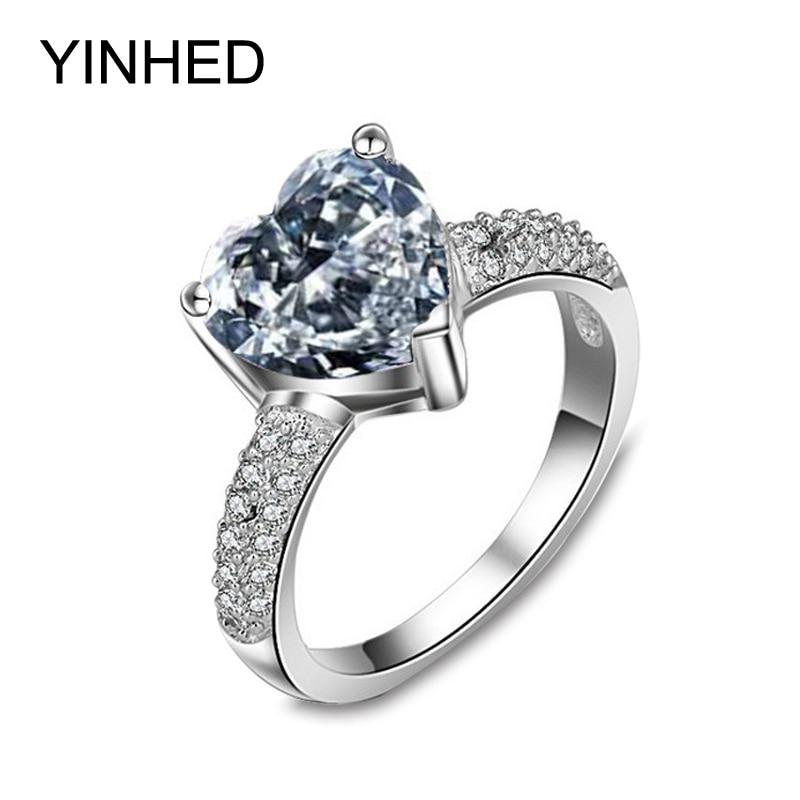 1288d15aa0a0 Yinhed romántico corazón forma CZ Diamant boda Anillos para las mujeres  sólido 925 plata esterlina anillo de compromiso joyería zr122