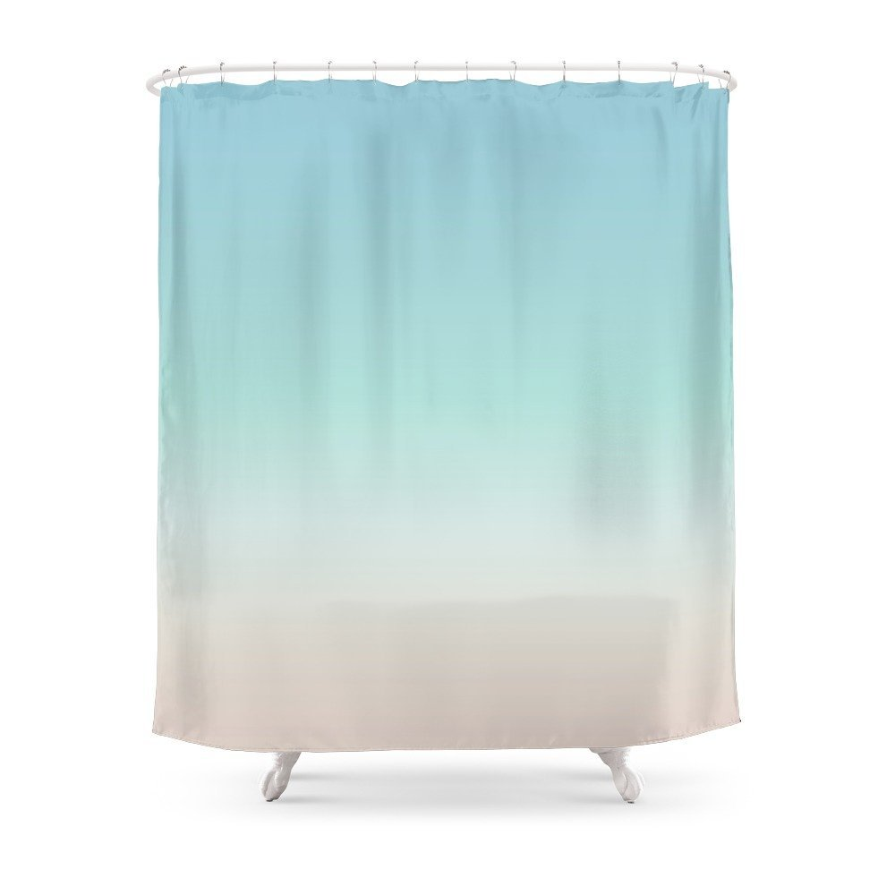 Beach Gradient Shower Curtain Custom Curtain For Bathroom Waterproof Polyester