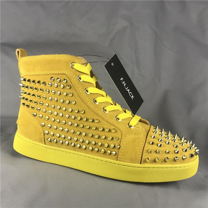 FNJACK Mode kualitas Tinggi Merah bawah Sneakers Suede Bertabur Tinggi atas  Sepatu Datar Mode Pelatih 348acc8865