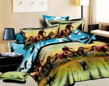 3D Blue horse animal print bedding comforters set sets queen size duvet cover bedspread bed in a bag sheet bedroom brand linen