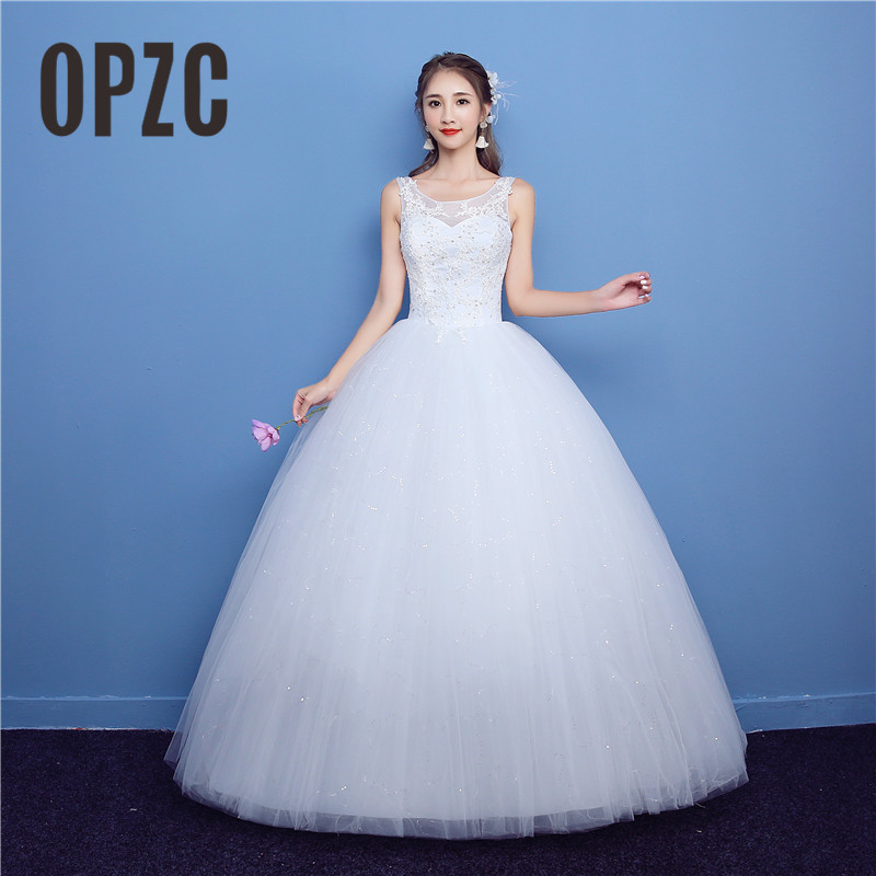 Fashion Simple 2018 Wedding Dresses O Neck Bride Dress Plus Size Pregnant Sequined Lace Appliques Sleeveless