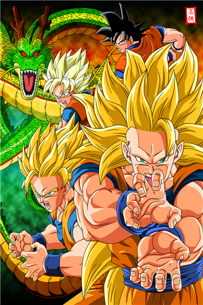 custom dragon ball poster dragon ball z wall stickers goku sticker super saiyan mural anime wallpapers - Dragon B