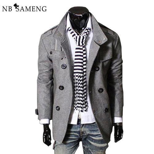 2017 Novo Estilo Britânico Magro Dos Homens Homens Jaqueta de Lã Quente Trench Coat Double Breasted Exteriores Plus Size M-XXXL 13M0470