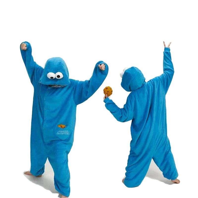 Blue Pajamas Sets Flannel Animal Pajamas Kigurumi Winter Stitch Sleepwear Women Men Adults Nightie Cartoon Sesame Street Pajama