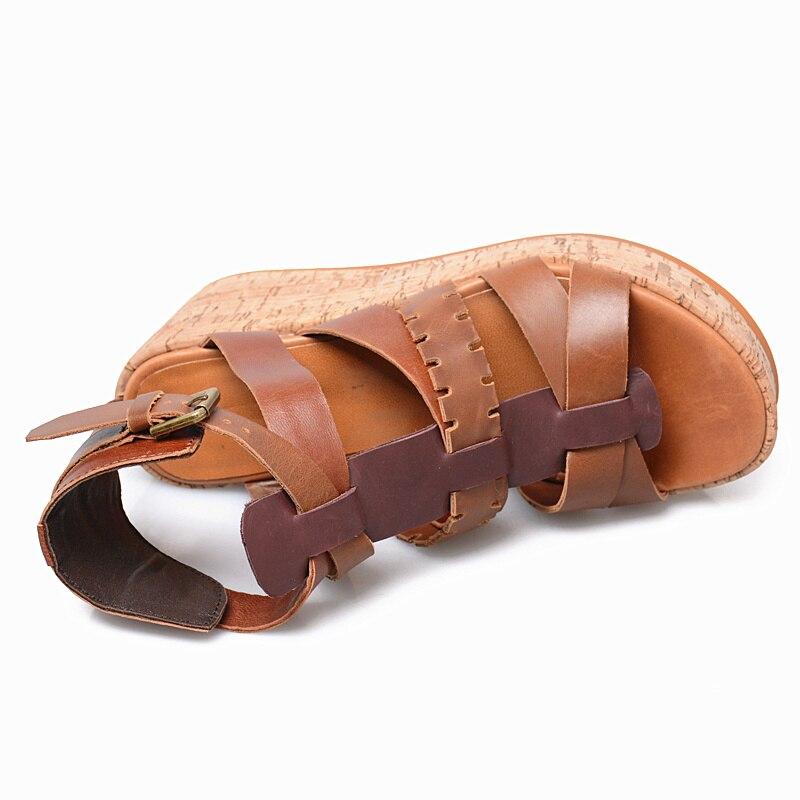 Prova perfetto, zapatos de verano de Tacón de Cuña con plataforma plana de color mixto de cuero genuino para mujer, sandalias con punta abierta, sandalias romanas - 4