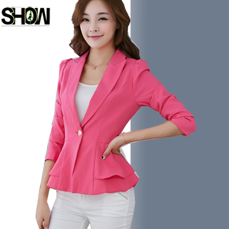 One Button Blazers 2017 Business Formal Suits Work Coat Elegant Ruffle Blue Yellow White Black Jacket Office Peplum Blazer 7009 Beneficial To The Sperm