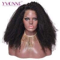 Ивонн афро курчавые Full Lace человеческих волос парики для черный Для женщин бразильский парик из натуральных волос натуральный Цвет