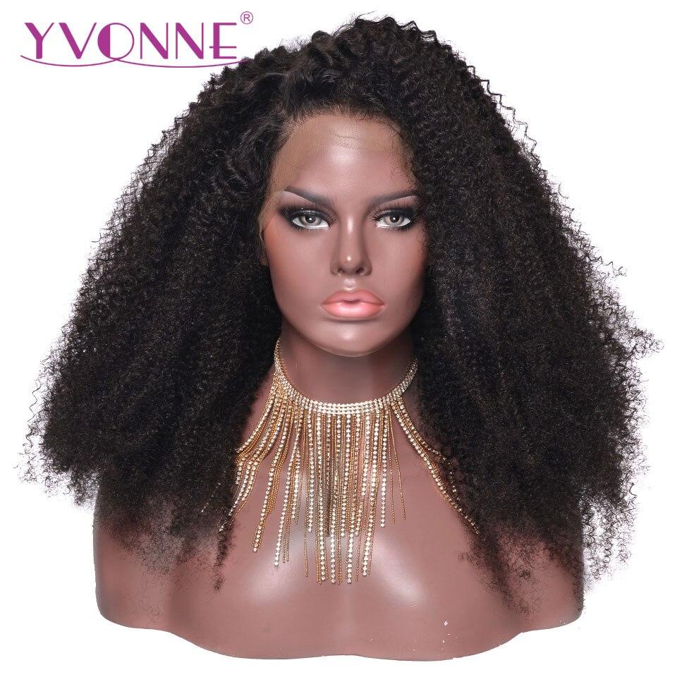 YVONNE Afro Crépus Bouclés Pleine cheveux humains avec dentelle Perruques Pour Les Femmes Noires Brésilienne Vierge Perruque De Cheveux Couleur Naturelle