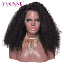 YVONNE Afro Kinky Curly Full Lace Human Hair Wigs For Black Women Brazilian Virgin Hair Wig Natural Color(China)