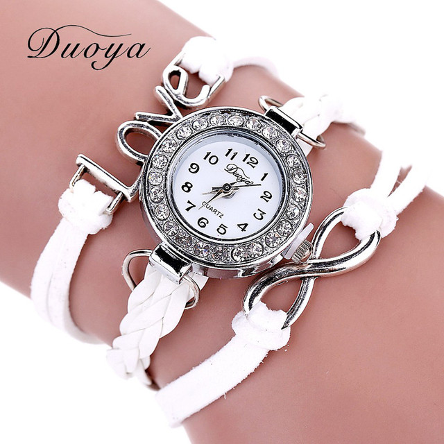 Duoya 2016 Fashion Watches Women Alloy Letters Leather Band Stripe Luxury Women