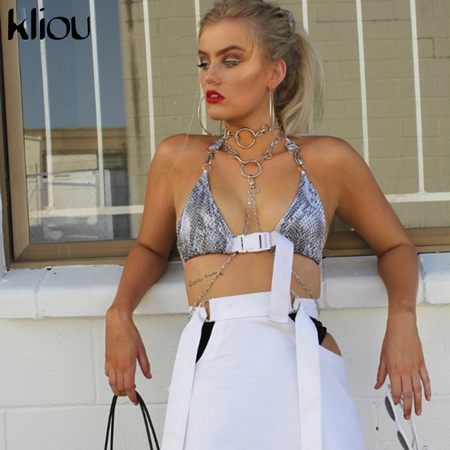 Kliou 2018 Summer Sexy Backless Crop Top With Sashes Bandage Halter For Women Hollow Out Strap Tie Up Sexy Summer Fashion Top