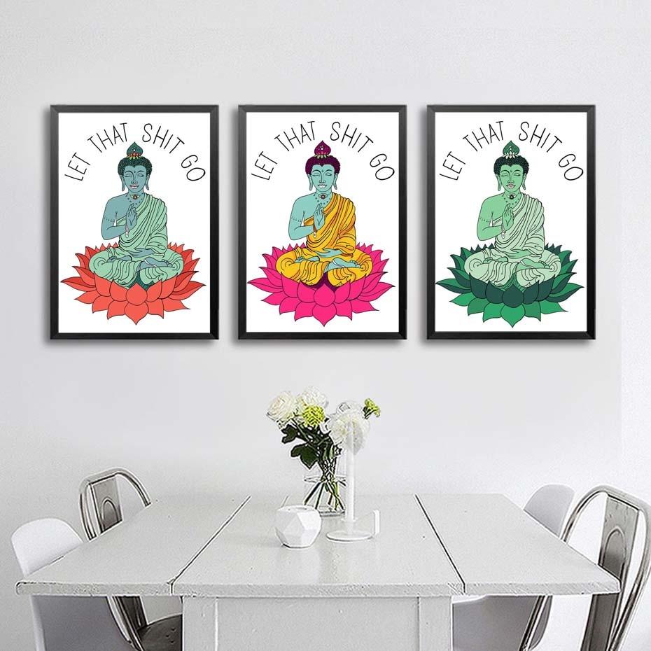 Yoga Buda meditando pintura abstracta Yoga arte imprimible Wall ...