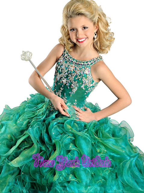 faa65c9b210c Girl kids Pageant Green Party Princess Ball Gown Flower Girl Dresses ...