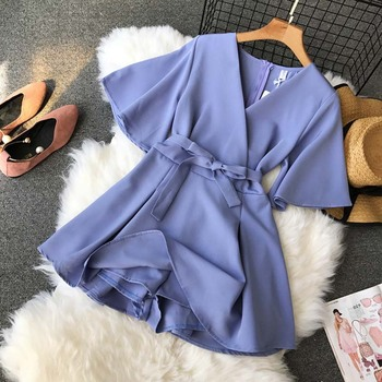 NiceMix Women's V neck flare sleeve solid color Playsuits Lady's Vintage Spring Summer Wide leg shorts Jumpsuits rompers new 6