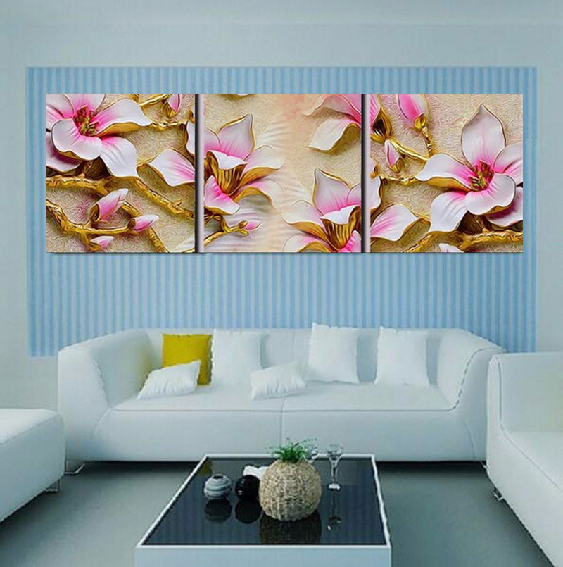Aliexpress.com : Buy No Frame 3D Flowers Wall Painting Art Picture Modern  Canvas Painting Wall Decorative Pictures Home Decor Living Room HY47 From  Reliable ... Part 84
