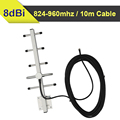 Outdoor Yagi Antenna 824mhz to 960hz GSM 850mhz 900mhz Mobile Phone Signal Antenna gain 8dBi included 10 meters cables